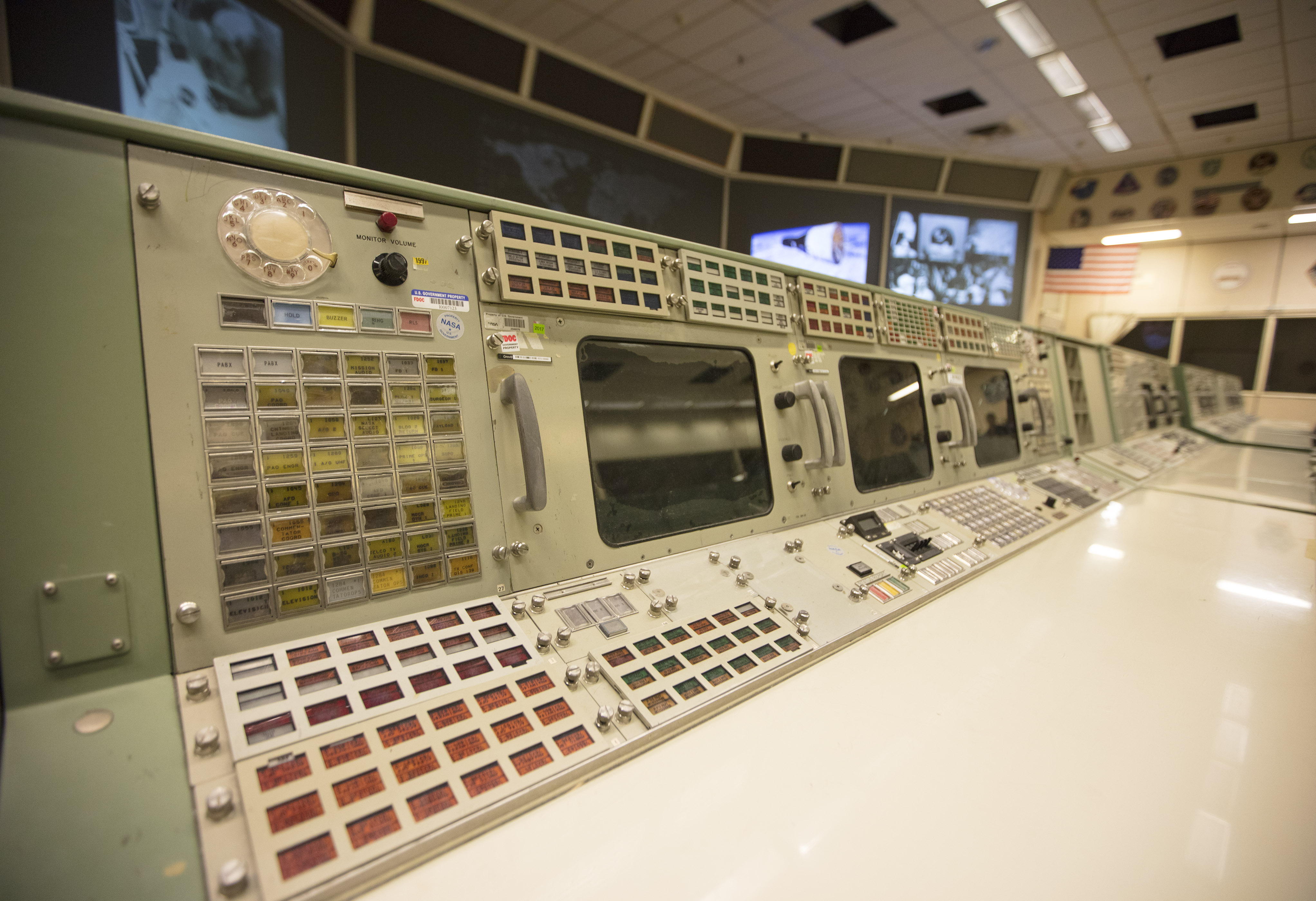 Historic Mission Control consoles.